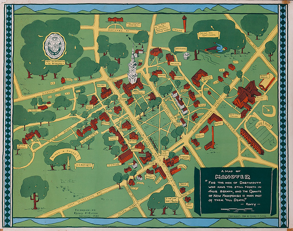 Original Dartmouth College Souvenir Campus Map Poster