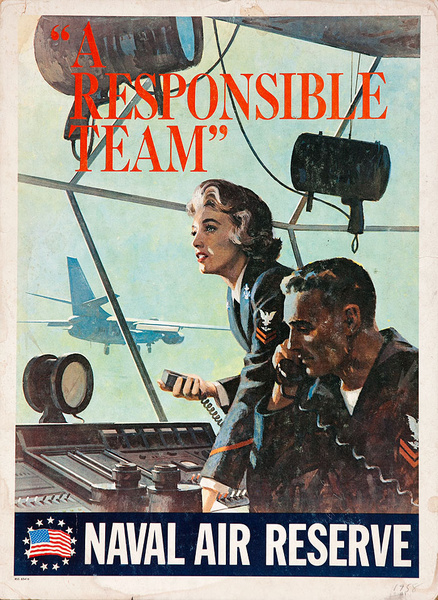 A Responsible Team Original Korean War Naval Reserve Recruiting Poster