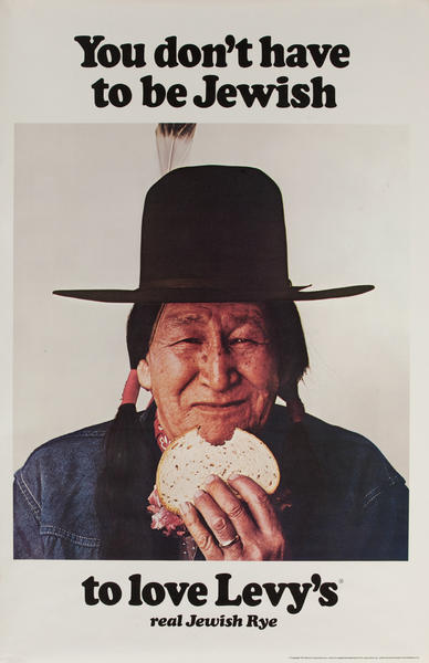 You Don't Have to Be Jewish To Love Levy's Rye Bread Original Vintage Advertising Poster American Indian