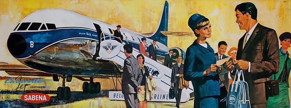 Sabena Belgian Airlines Original Travel Poster boarding jet