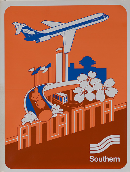 Southern Airways Original Travel Poster Atlanta
