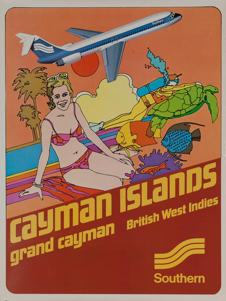 Southern Airways Original Travel Poster Cayman Islands