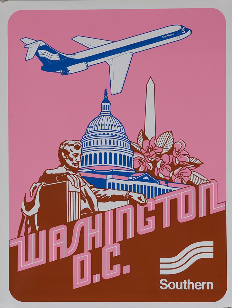 Southern Airways Original Travel Poster Washington DC
