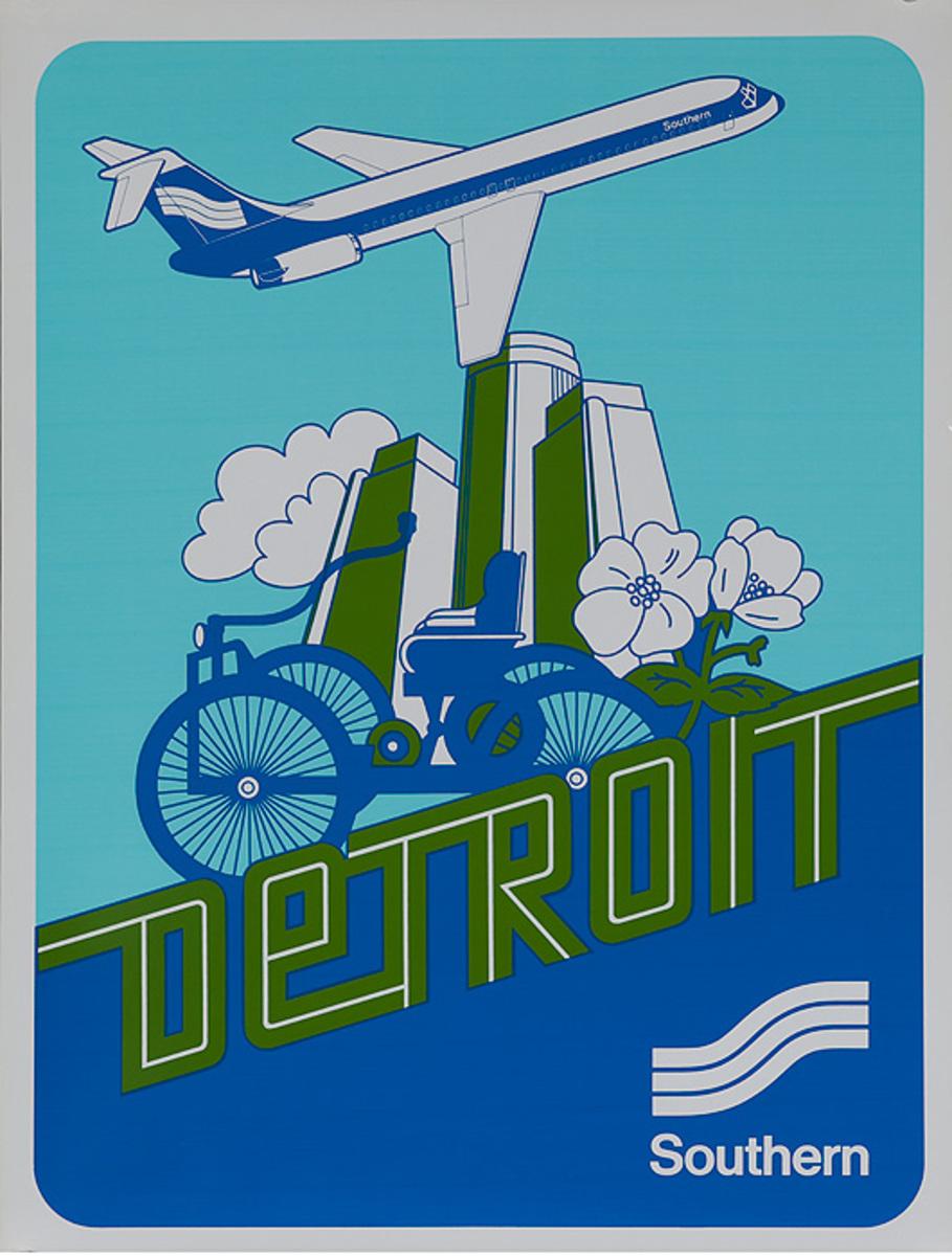 Southern Airways Original Travel Poster Detroit