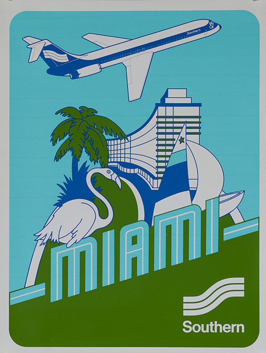 Southern Airways Original Travel Poster Miami Florida