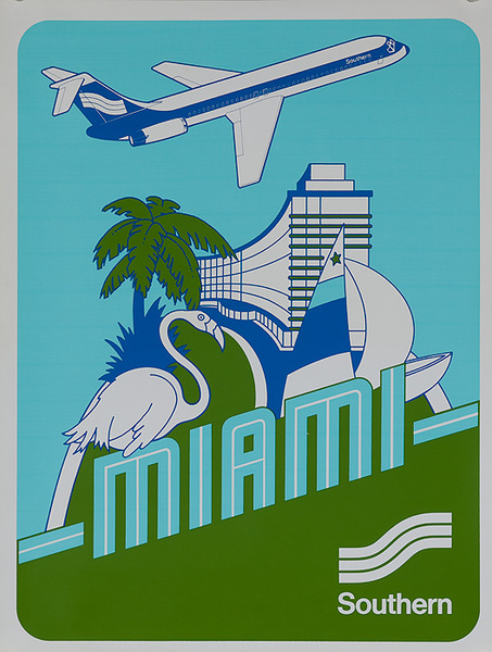 Southern Airways Original Travel Poster Miami Florida