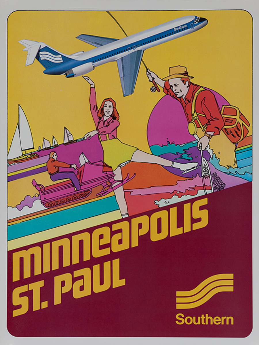 Southern Airways Original Travel Poster Minneapolis St Paul