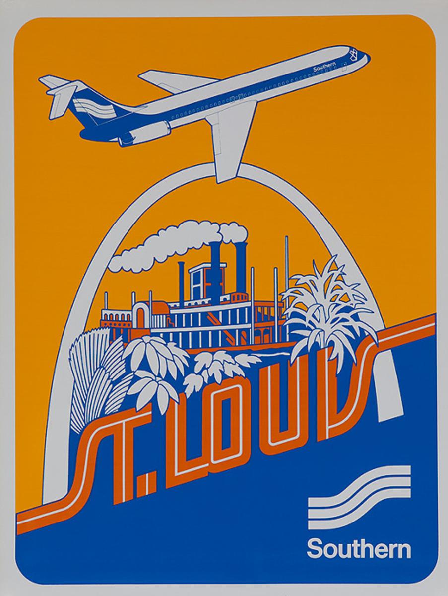 Southern Airways Original Travel Poster St Louis