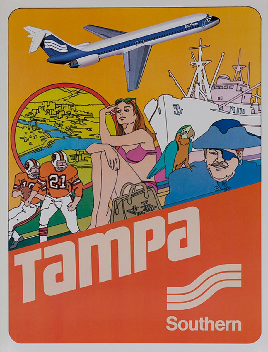 Southern Airways Original Travel Poster Tampa