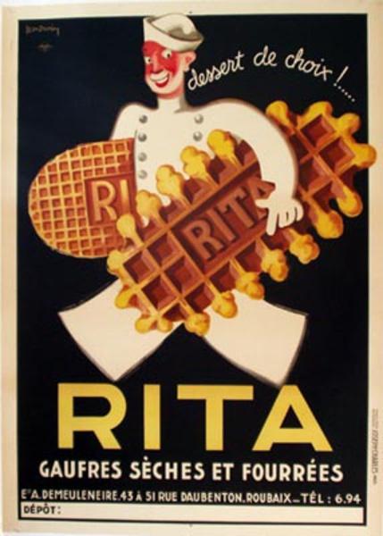 Rita Bisquit Original Vintage Advertising Poster
