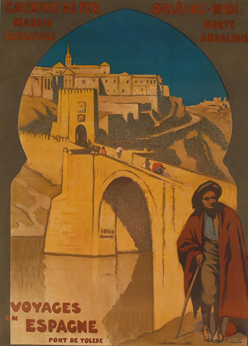 Voyages Espagne Port de Toledo Original Chemin de Fer Orleans Midi Travel Poster