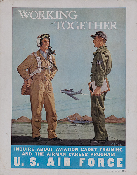 Working Together U S Air Force Original American Korean War Recruiting Poster