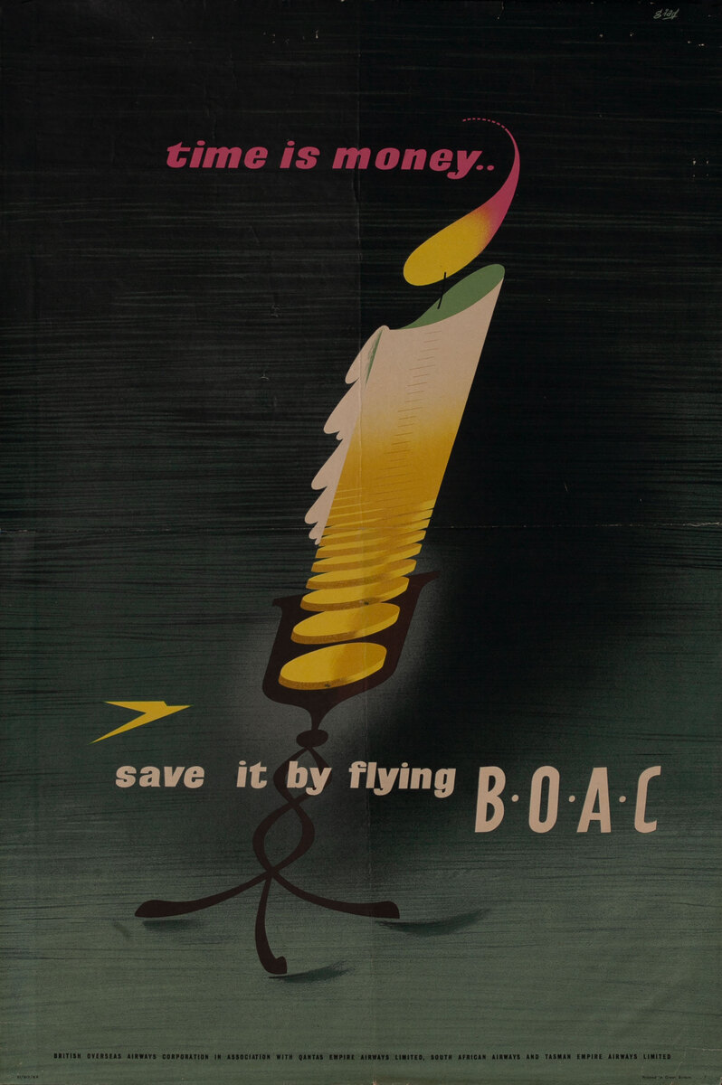 Time Is Money Save it By Flying BOAC Original Travel Poster