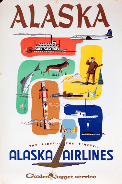 Alaska Airlines The First The Finest Travel Poster Golden Nugget Service
