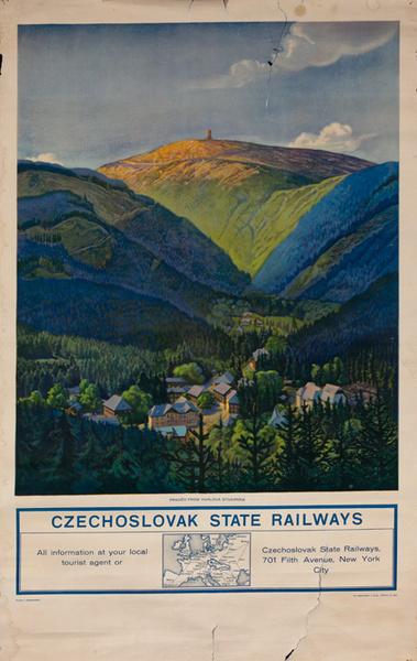 Czechoslovakia State Railways Original Travel Poster View of Praded From Karlova Studanka