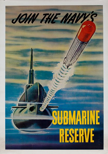 Join the Navy's Submarine Reserve Original American Korean War Recruiting Poster