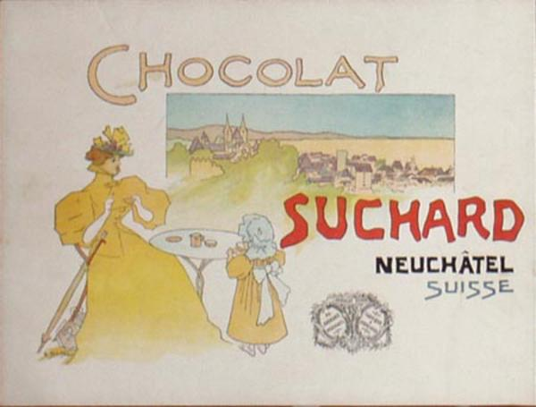 Original Art Nouveau Suchard Swiss Chocolate Vintage Poster