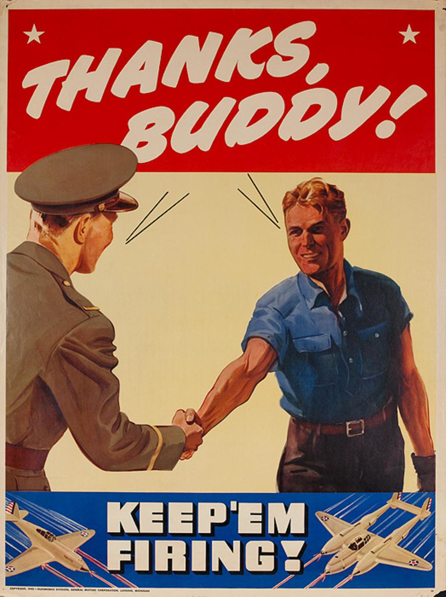 Thanks Buddy Keep 'Em Firing Original Oldsmobile GM Poster