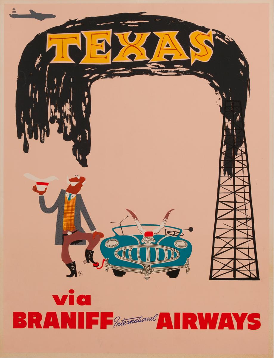 Texas Braniff International Airways Original Travel Poster Oilman