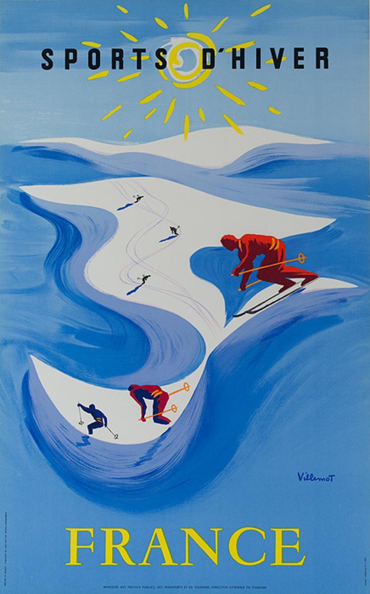 Sport d'Hiver France Winter Sports Original Travel Poster