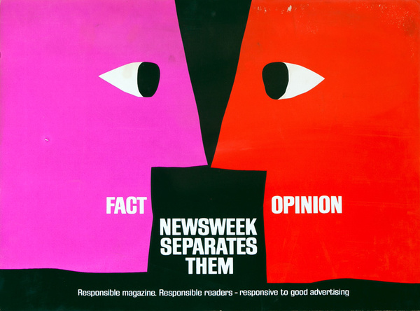 Newsweek Magazine Original American Advertising Poster Fact Opinion Newsweek Separates Them face