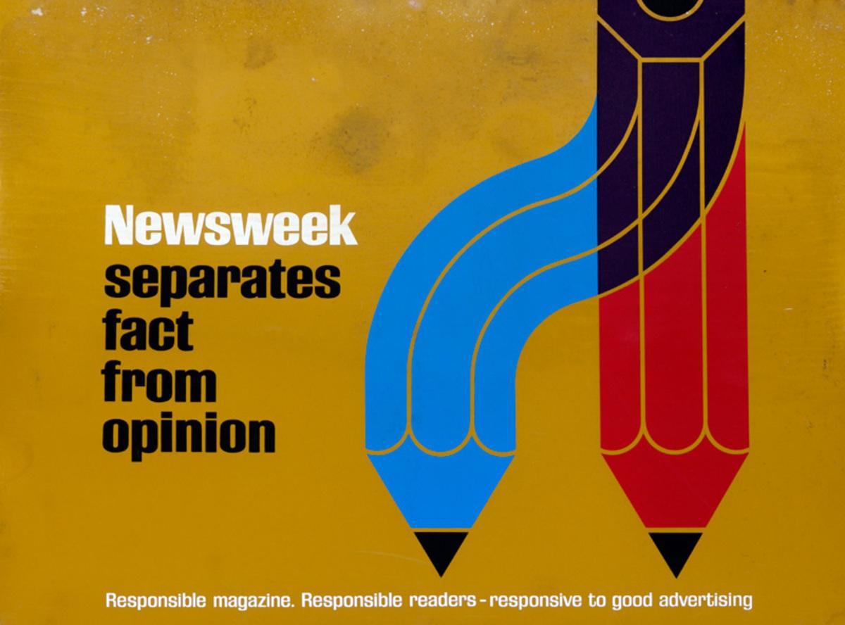 Newsweek Magazine Original American Advertising Poster Fact Opinion Newsweek Separates Them pencil