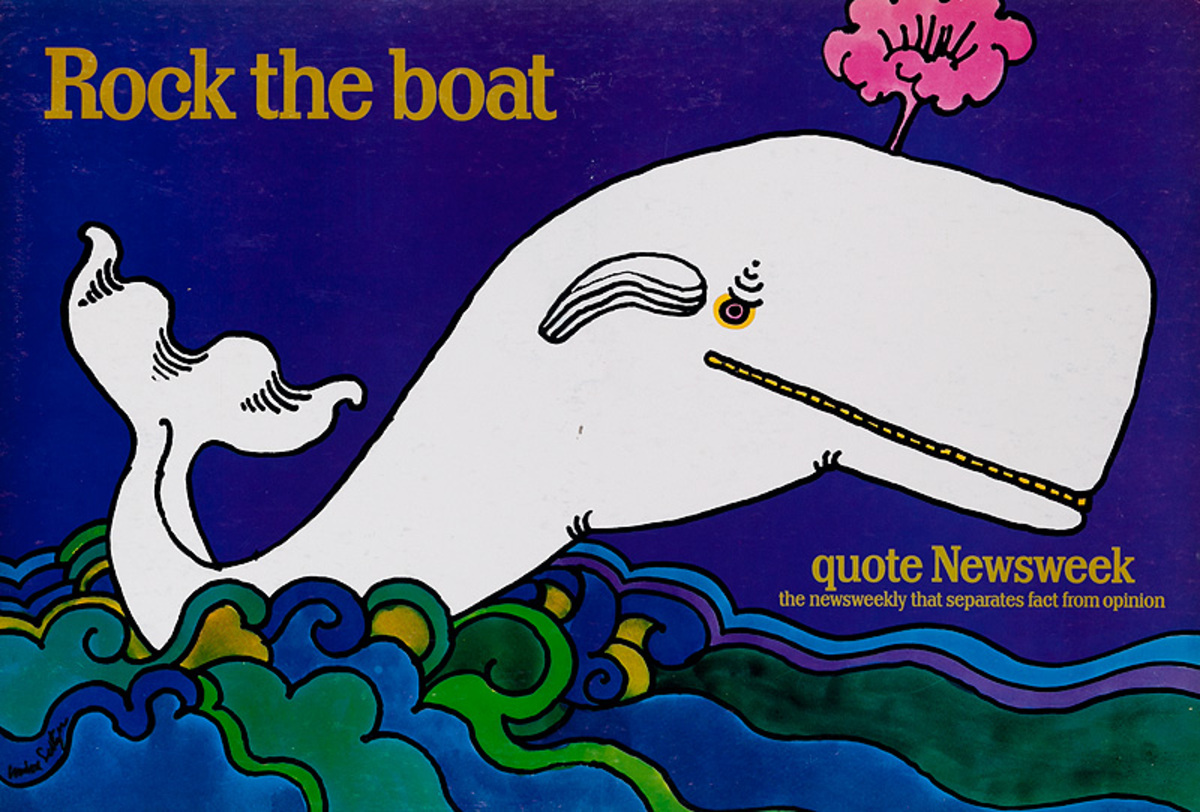 Quote Newsweek Magazine Original American Advertising Poster Rock the Boat