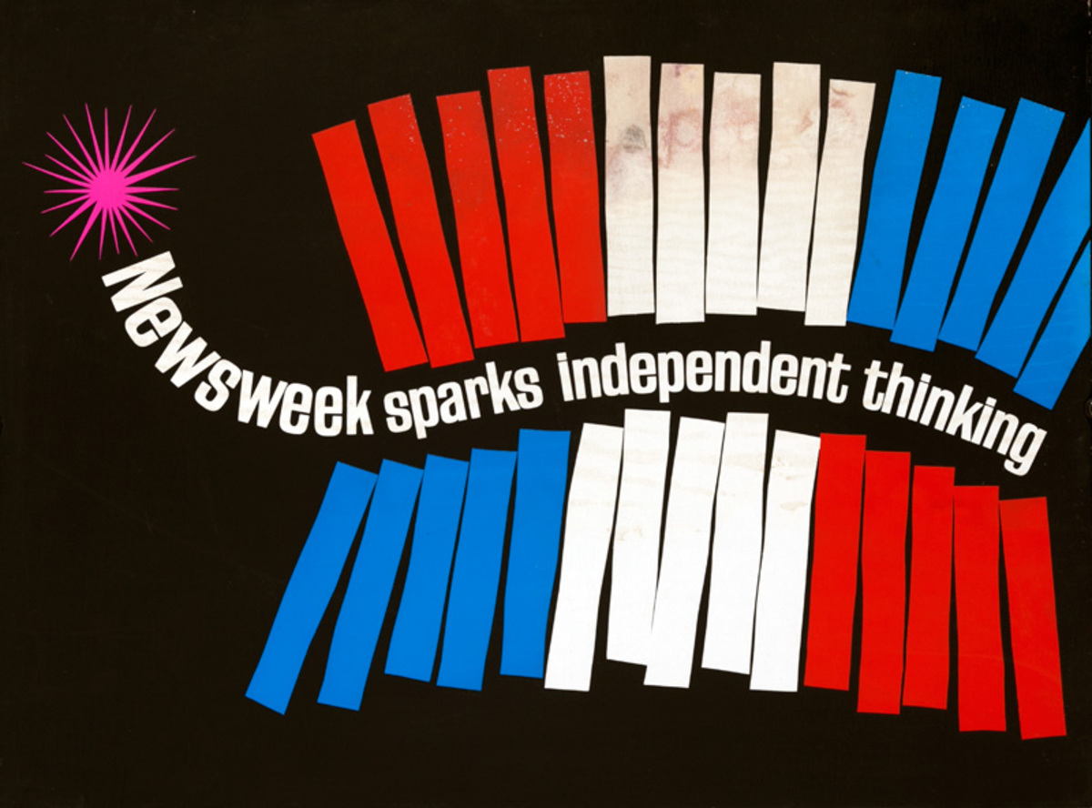Newsweek Sparks Independent Thinking Magazine Original American Advertising Poster Firecrackers