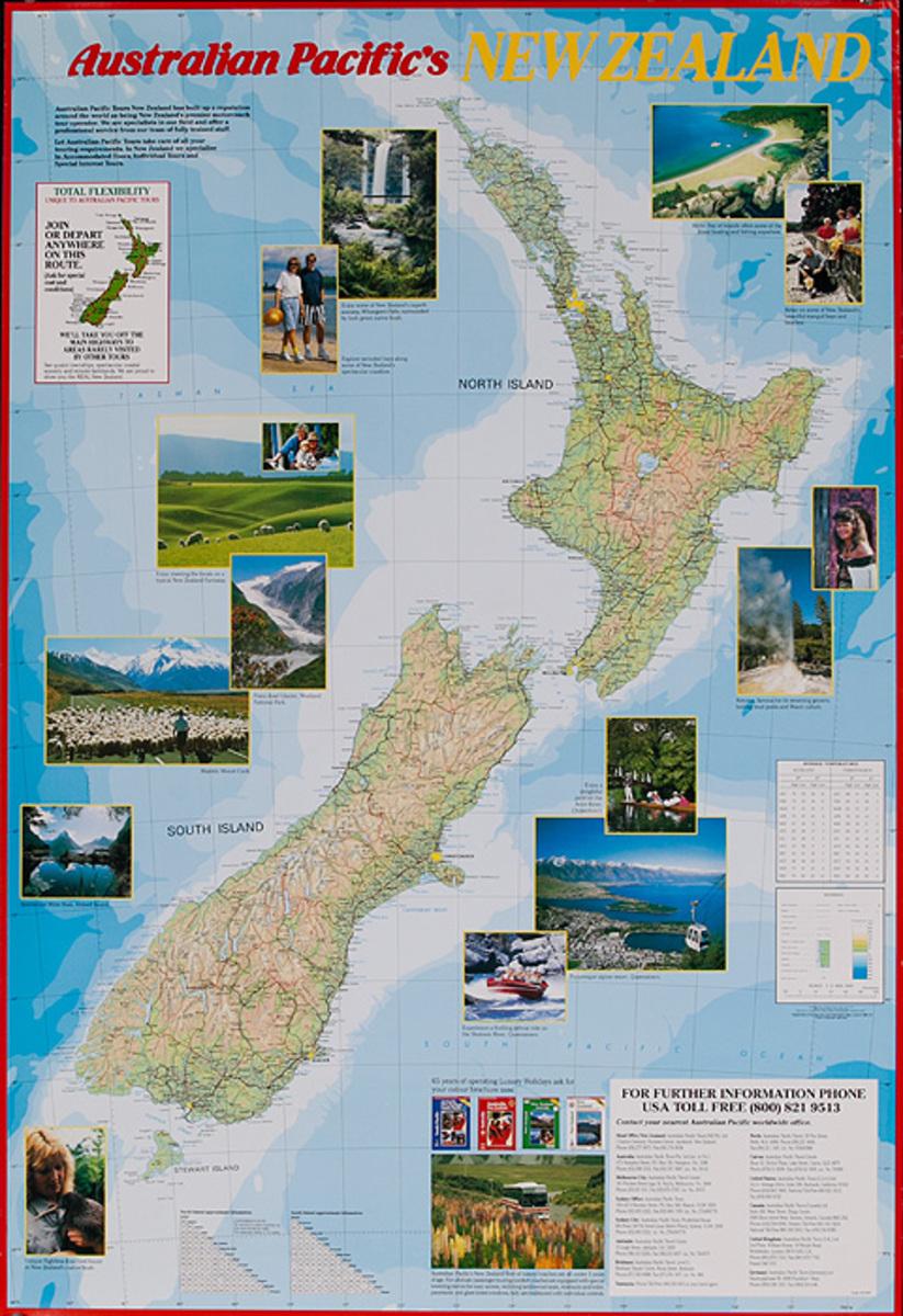Ausralian Pacific's New Zaeland Original Travel Map Poster
