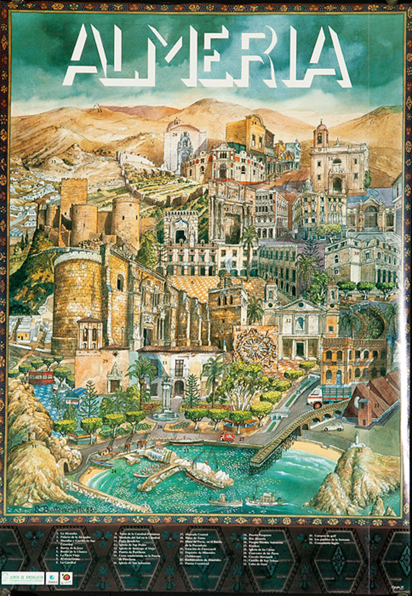 Almeria Original Spanish Travel Poster City Illustration