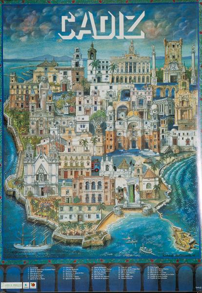 Cadiz Original Spanish Travel Poster City Illustration