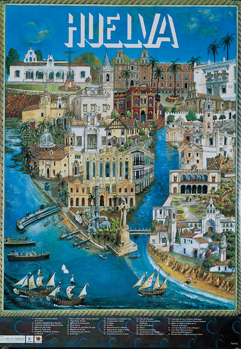 Huelva Original Spanish Travel Poster City Scene