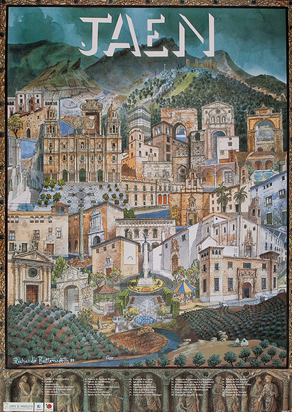 Jaen Original Spanish Travel Poster City Illustration