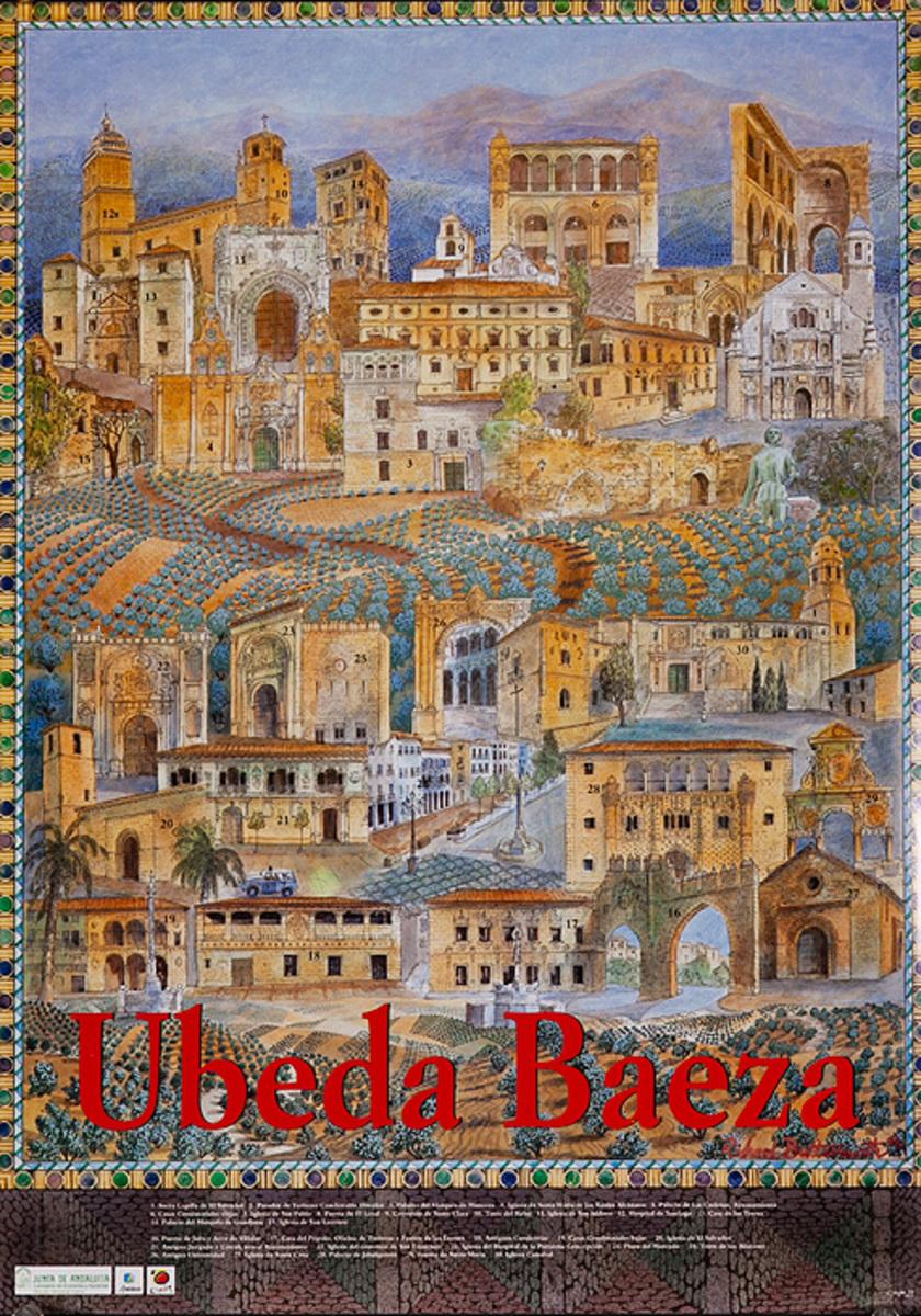 Ubeda Baeza Spain, Original Spanish Travel Poster City Scene