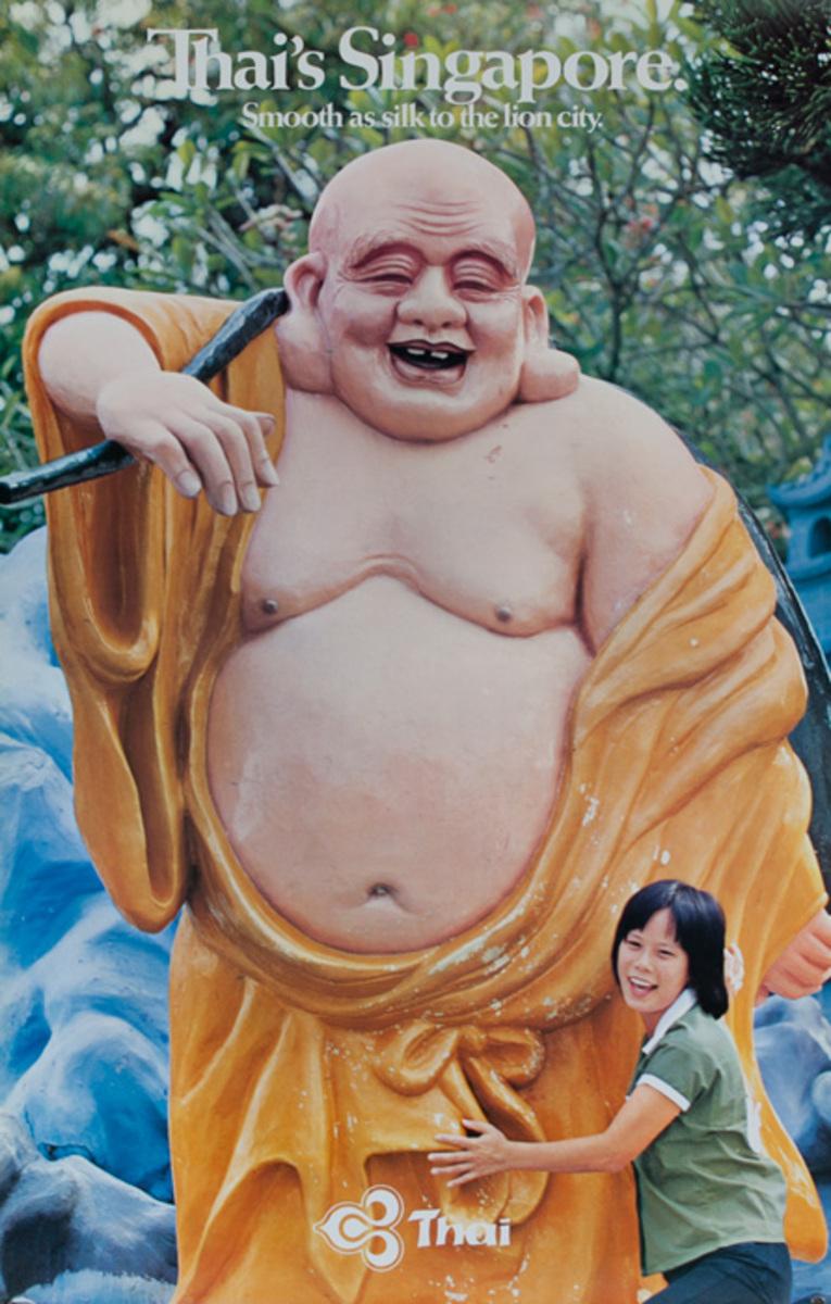 Thai Singapore Original Travel Poster Buddha Photo