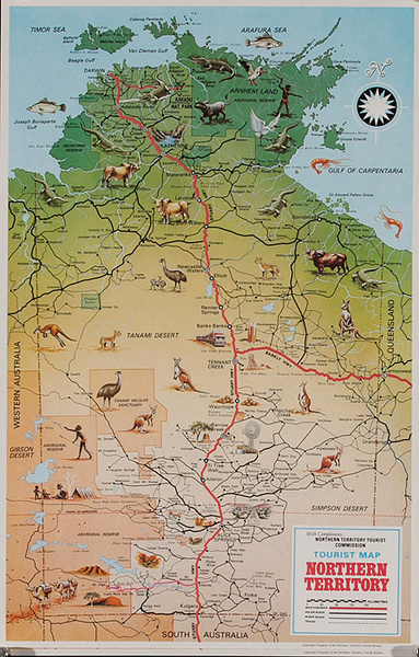 Australian Northern Territories Original Travel Map Poster