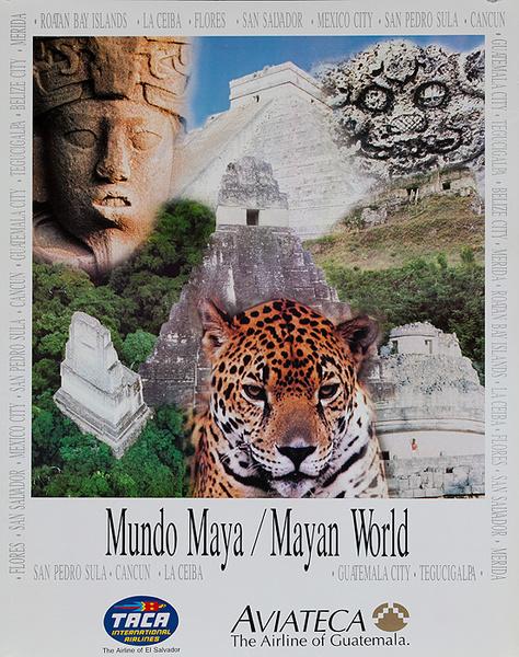 Aviateca Airline of Guatemala Original Travel Poster Mayan World