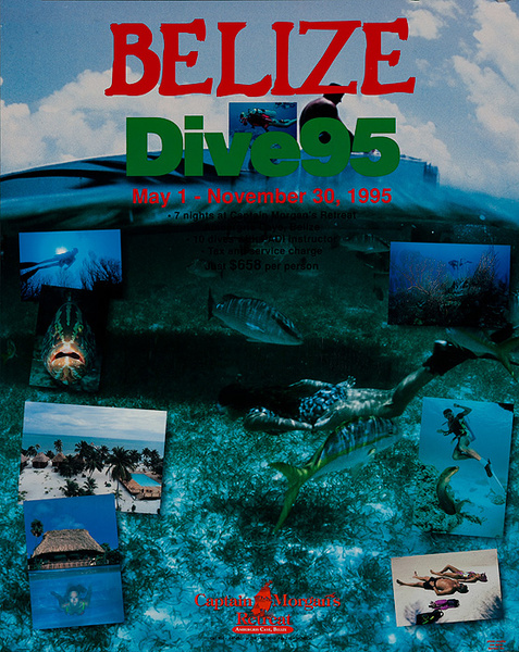 Belize Dive 95 Original Travel Poster