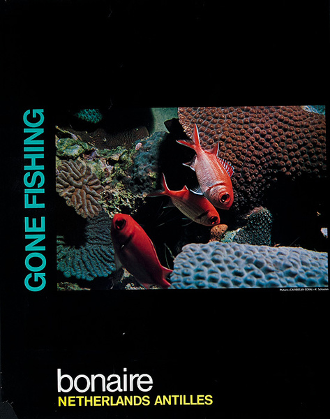 Bonaire Netherlands Antilles Gone Fishing Original Travel Poster