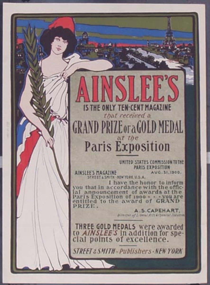 Original Ainslee Magazine Paris Exposition  Vintage Poster