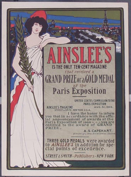 Original Ainslee Magazine [[Paris]] Exposition  Vintage Poster
