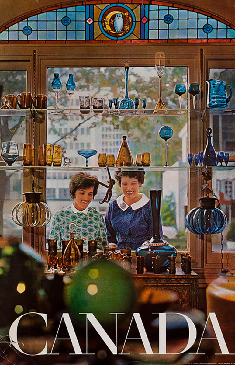 Canada, Original Travel Poster Glassware Shopping