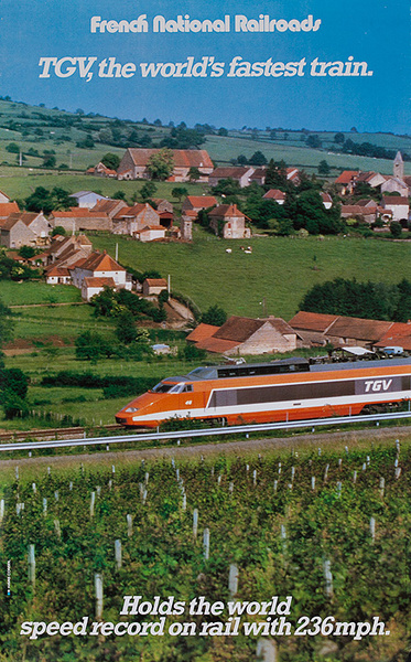 TGV, The World's Fastest Train Original French National Railroads Travel Poster
