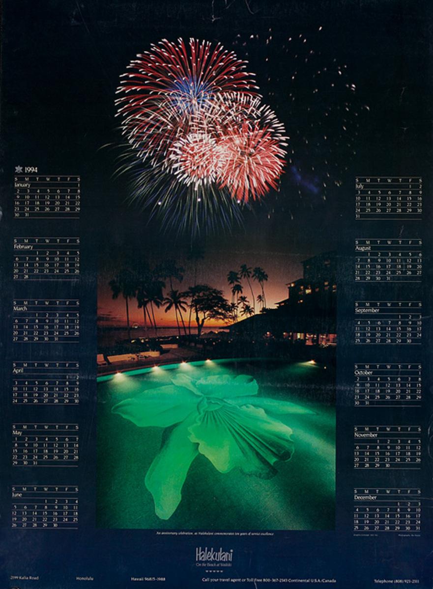 Halekulani Hawaii Original Calendar Poster