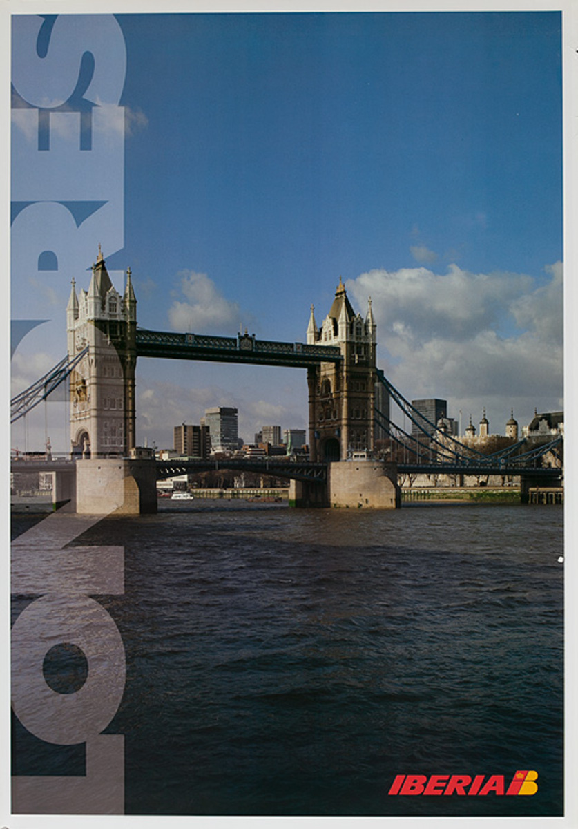 Iberia Airlines Original Travel Poster  Londres London England