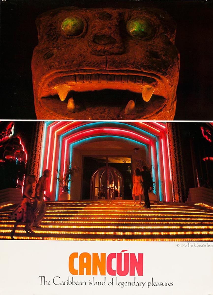 Cancun Mexico Original Travel Poster Ruins Casino