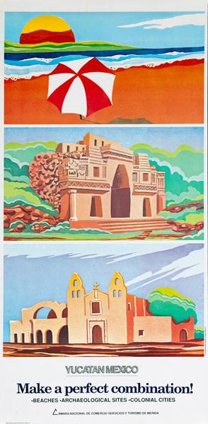 Yucatan Mexico Original Travel Poster A Perfect Combination