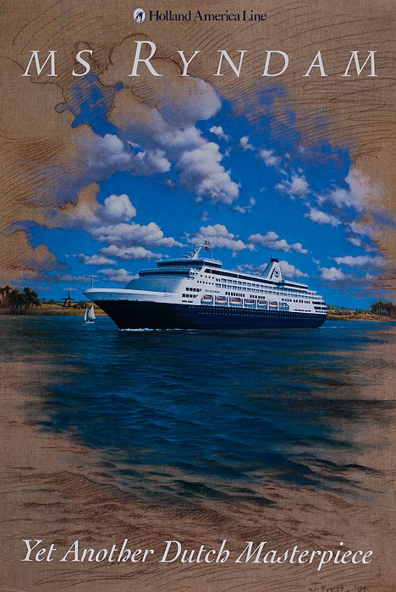 Holland America Line MS Ryndam Original Cruise Travel Poster