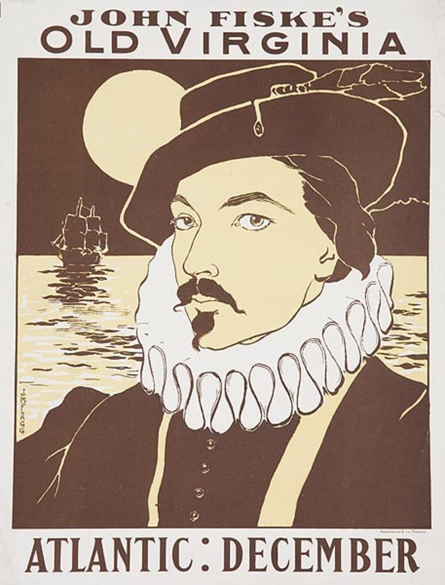 Atlantic December John Fiske's Old Virginia  Original American Literary Poster