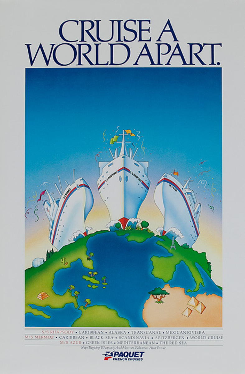Cruise a World Apart Paquet French Cruises Original Travel Poster